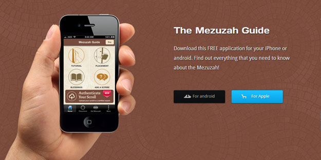 Mezuzah App on iPhone held in hand
