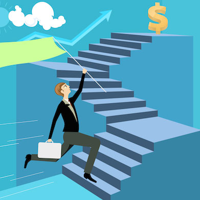Man climbing stairs towards money